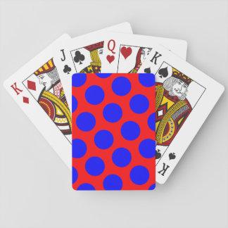 Lunares rojos y azules baraja de póquer