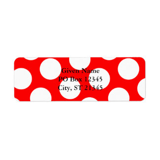 Lunares rojos y blancos grandes etiqueta de remite