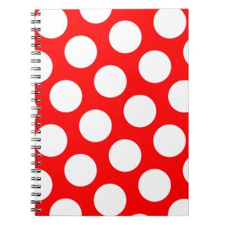 Lunares rojos y blancos grandes libros de apuntes