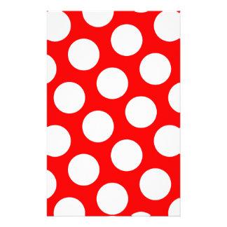 Lunares rojos y blancos grandes papelería