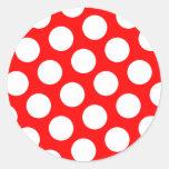 Lunares rojos y blancos grandes pegatina redonda
