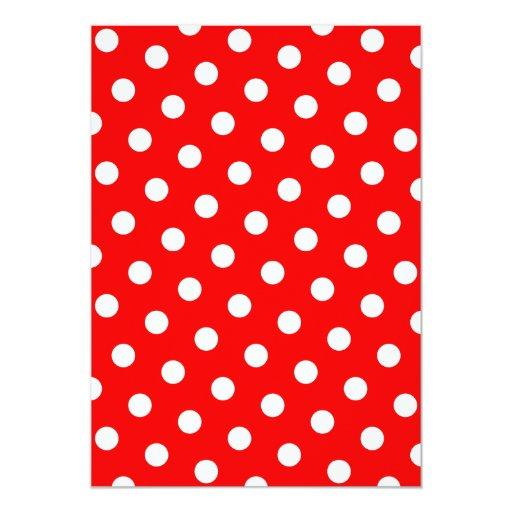 Lunares rojos y blancos invitación 12,7 x 17,8 cm
