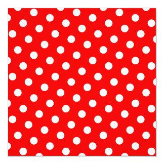 """Lunares rojos y blancos invitación 5.25"""" x 5.25"""""""
