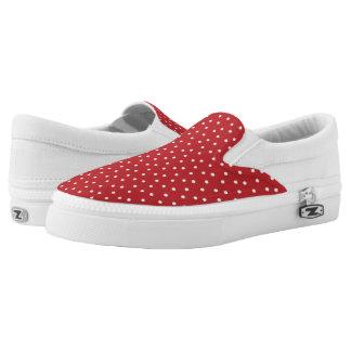 Lunares rojos y blancos lindos zapatillas