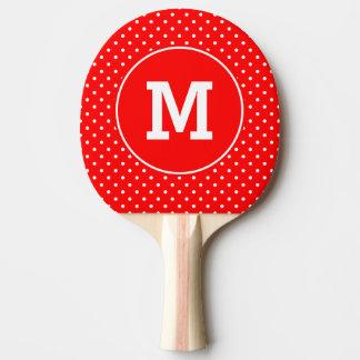 Lunares rojos y blancos minúsculos cones monograma pala de tenis de mesa