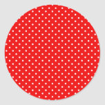 Lunares rojos y blancos pegatina redonda