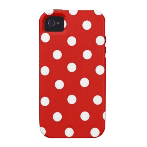 Lunares rojos y blancos vibe iPhone 4 carcasa