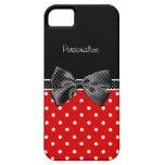 Lunares rojos y cinta negra con nombre iPhone 5 coberturas