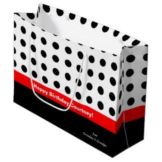 Lunares rojos y negros bolsa de regalo grande