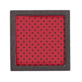 Lunares rojos y negros cajas de recuerdo de calidad