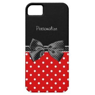 Lunares rojos y negros femeninos con el arco y el iPhone 5 carcasa