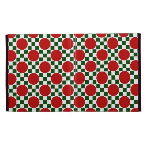 Lunares rojos y pequeños cuadrados verdes