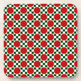 Lunares rojos y pequeños cuadrados verdes posavaso