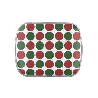 Lunares rojos y verdes en blanco frascos de caramelos