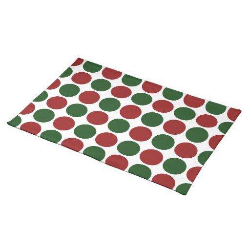 Lunares rojos y verdes en blanco manteles individuales