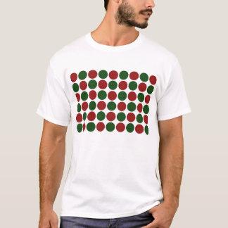 Lunares rojos y verdes en blanco playera