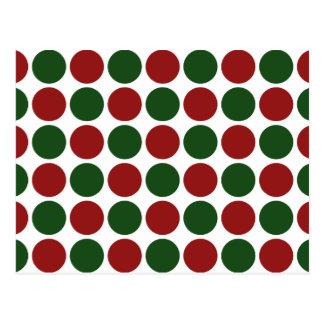 Lunares rojos y verdes en blanco postal