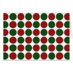 Lunares rojos y verdes en blanco tarjeton