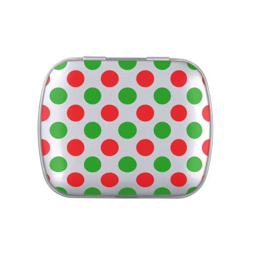 Lunares rojos y verdes frascos de caramelos