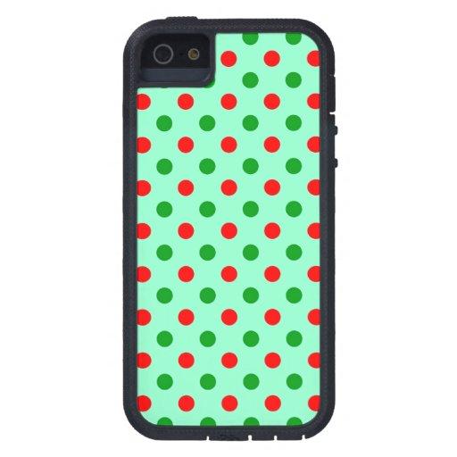 Lunares rojos y verdes iPhone 5 Case-Mate funda