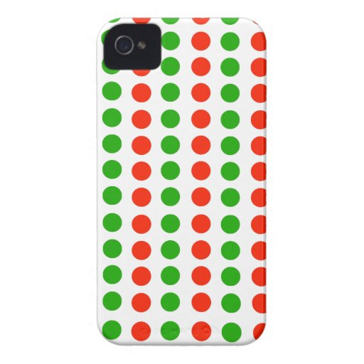 Lunares rojos y verdes Case-Mate iPhone 4 carcasa