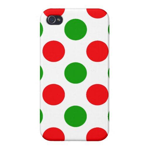 Lunares rojos y verdes iPhone 4/4S fundas