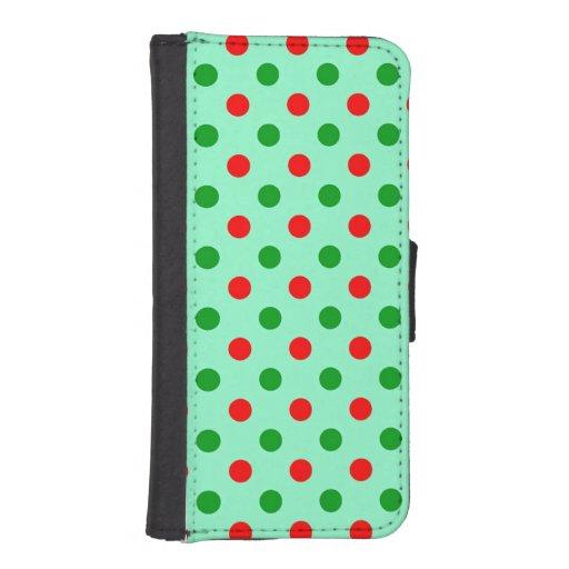 Lunares rojos y verdes fundas cartera para teléfono