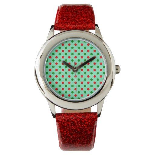 Lunares rojos y verdes relojes de mano
