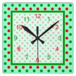 Lunares rojos y verdes relojes de pared