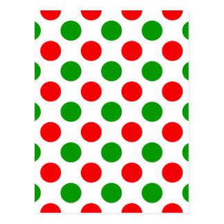 Lunares rojos y verdes tarjeta postal