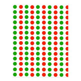 Lunares rojos y verdes postal