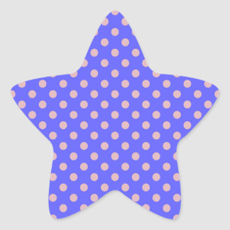 Lunares - rosa oscuro en azul claro pegatina en forma de estrella