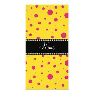 Lunares rosados amarillos conocidos personalizados tarjetas fotográficas