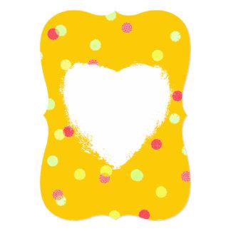 """lunares rosados, amarillos y amor blanco del invitación 5"""" x 7"""""""
