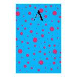 Lunares rosados azules del monograma papelería personalizada