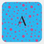 Lunares rosados azules del monograma pegatinas cuadradases personalizadas