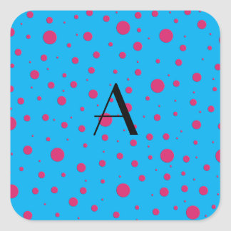 Lunares rosados azules del monograma pegatina cuadrada