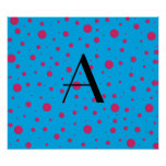 Lunares rosados azules del monograma poster