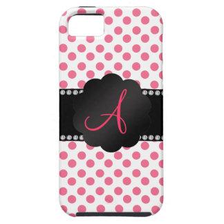 Lunares rosados blancos del monograma iPhone 5 Case-Mate cárcasa