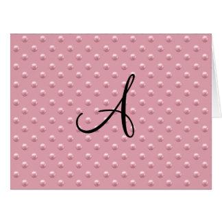 Lunares rosados bonitos de la perla del monograma felicitacion