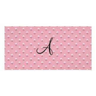 Lunares rosados bonitos de la perla del monograma tarjetas fotográficas personalizadas