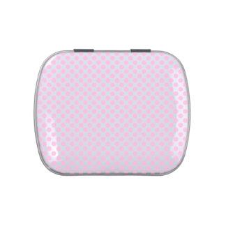 Lunares rosados con el fondo adaptable latas de dulces
