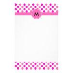Lunares rosados cones monograma papeleria personalizada