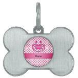 Lunares rosados conocidos personalizados de los co placa mascota