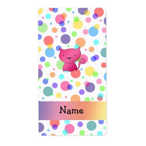 Lunares rosados conocidos personalizados del arco  etiqueta de envío