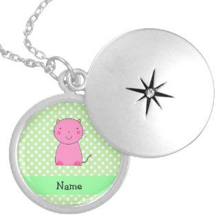 Lunares rosados conocidos personalizados del verde grimpolas personalizadas