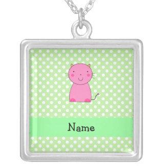 Lunares rosados conocidos personalizados del verde collares personalizados