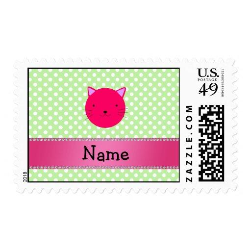 Lunares rosados conocidos personalizados del verde sello postal