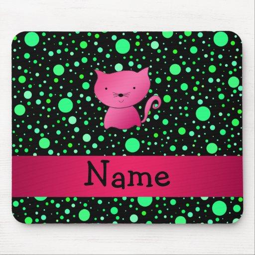 Lunares rosados conocidos personalizados del verde mouse pads