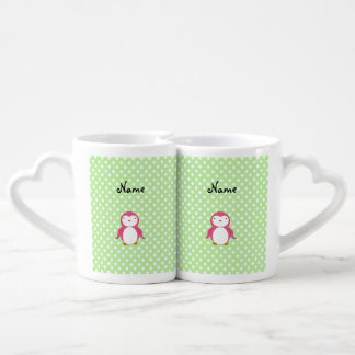 Lunares rosados conocidos personalizados del verde tazas para enamorados